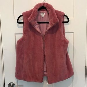 JCrew Pink Furry Vest - Size Medium
